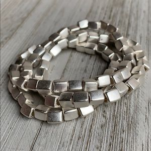 Matte Silver Cube Stretch Bracelet NEW